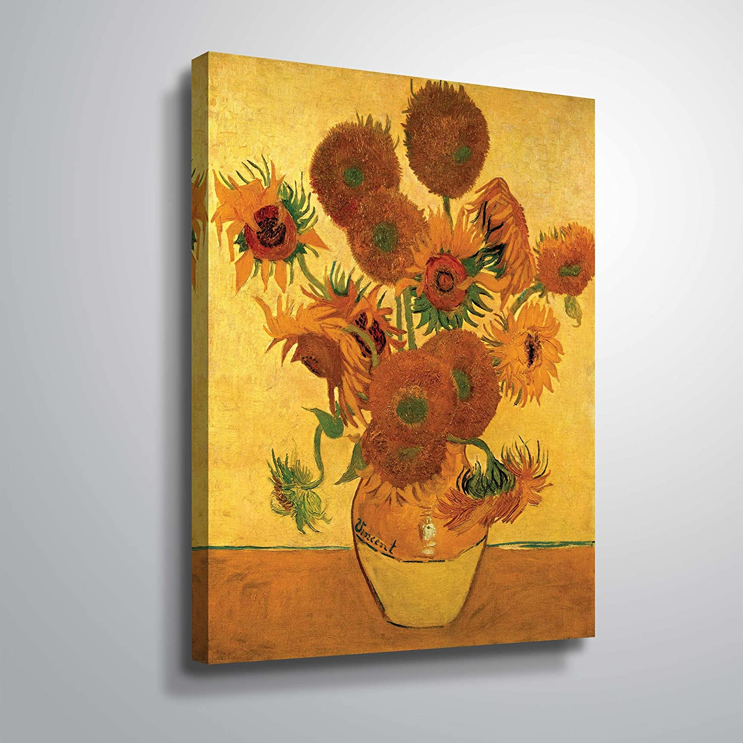Amazon.com: Art Wall Vase with Fifteen Sunflowers Gallery Wrapped ...