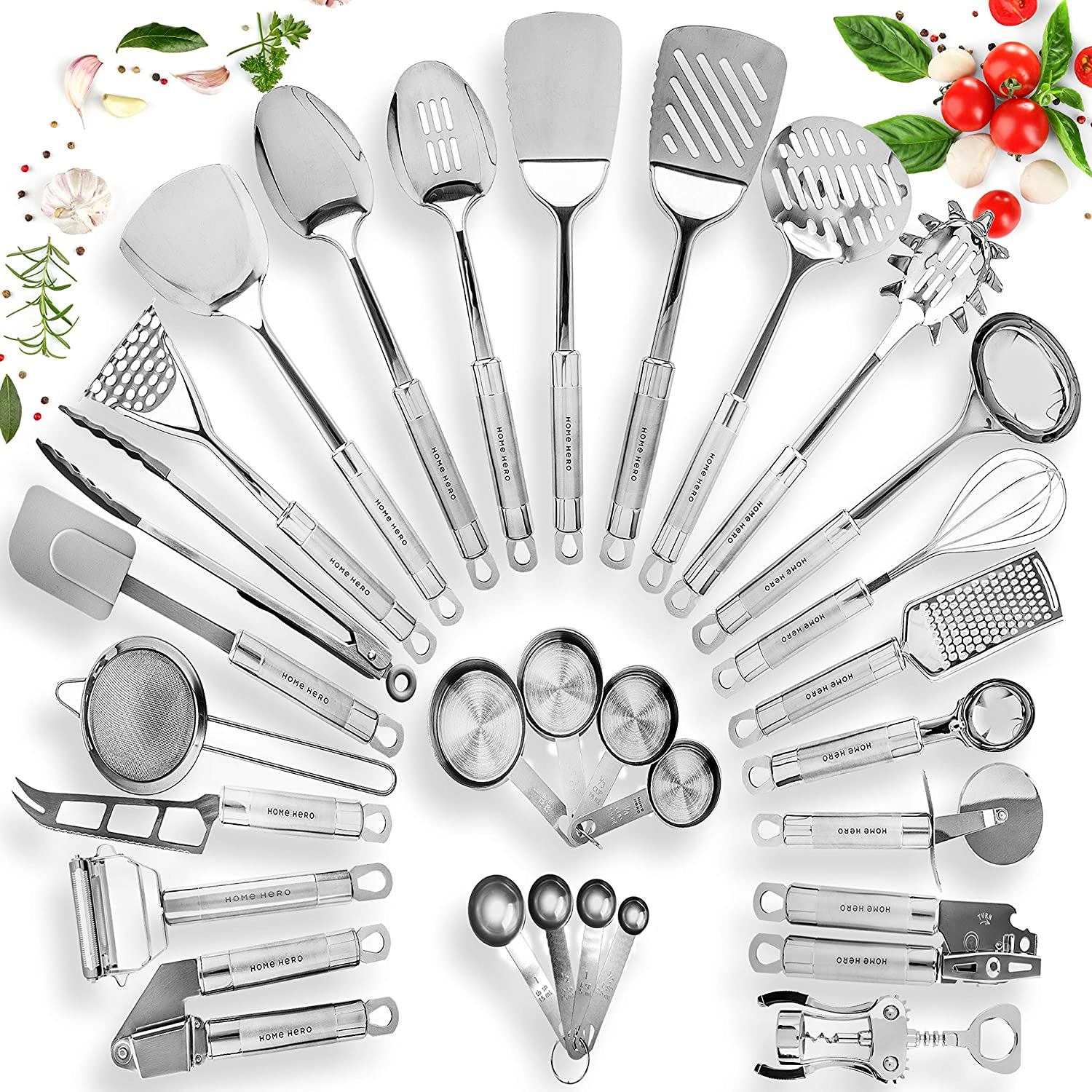 HomeHero Stainless Steel Kitchen Utensil Set - 29 Cooking Utensils - Nonstick Kitchen Utensils Cookware Set with Spatula - Best Kitchen Gadgets Kitchen Tool Set Gift