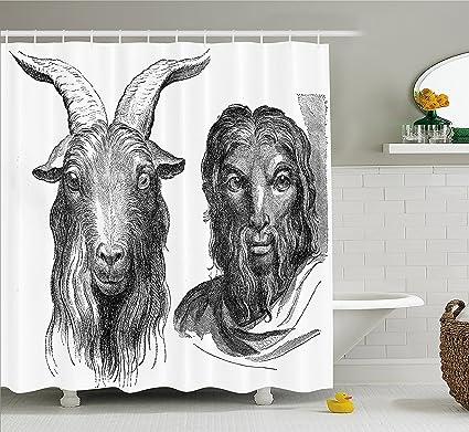 Quirky Decor cortina de ducha por, cabra y Hombre Resemblance Vintage dibujo Rumiantes etnología histórico