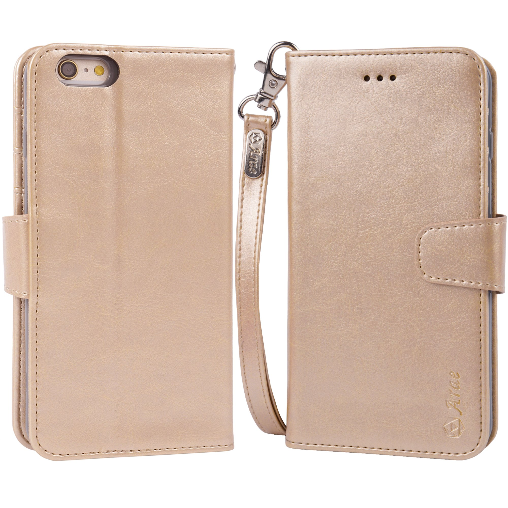 Iphone 6s Plus Case, iphone 6 plus case, Arae [Wrist Strap] Flip Folio [Kickstand Feature] PU leather wallet case with ID&Credit Card Pockets For Apple Iphone 6 plus/6S Plus 5.5 (champaign gold) by Arae (Image #6)
