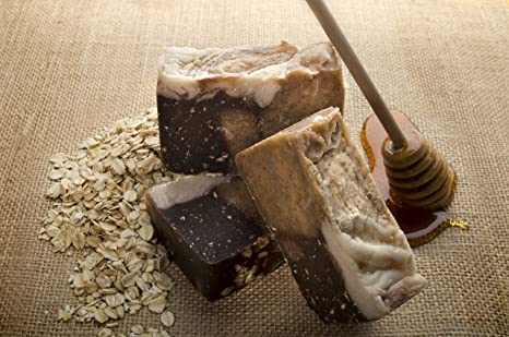 Pastilla de jabón de miel y avena (4 Bar Set) - Orgánica y artesanal con aceites terapéuticos esenciales. Jabón corporal natural e hidratante para piel y ...