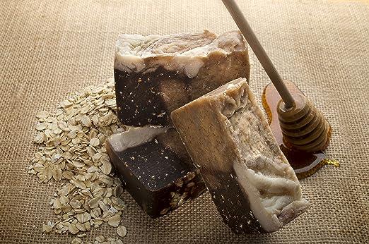 Pastilla de jabón de miel y avena (4Oz) - Orgánica y artesanal con aceites terapéuticos esenciales. Jabón corporal natural e hidratante para piel y cara.
