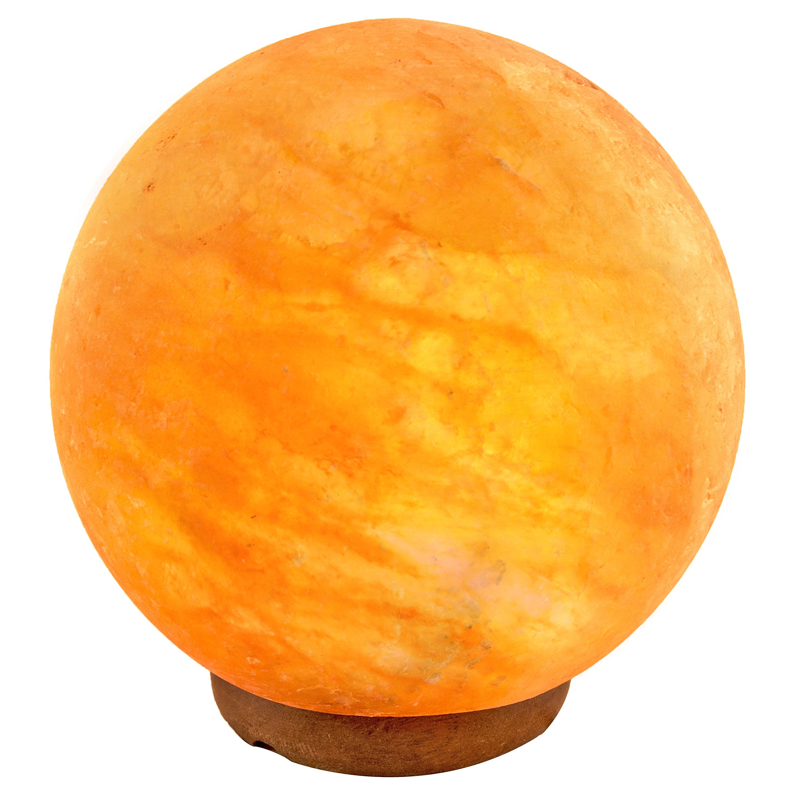Crystal Allies Gallery: CA SLS-GLOBE-12cm Natural Himalayan Globe Salt Lamp on Wood Base with Cord, Light Bulb & Authentic Crystal Allies Info Card