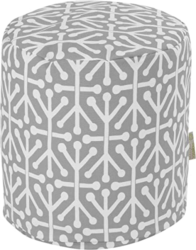 Majestic Home Goods Gray Aruba Indoor/Outdoor Bean Bag Ottoman Pouf 16″ L x 16″ W x 17″ H
