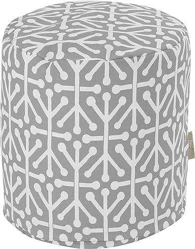 Majestic Home Goods Gray Aruba Indoor/Outdoor Bean Bag Ottoman Pouf 16″ L x 16″ W x 17″ H