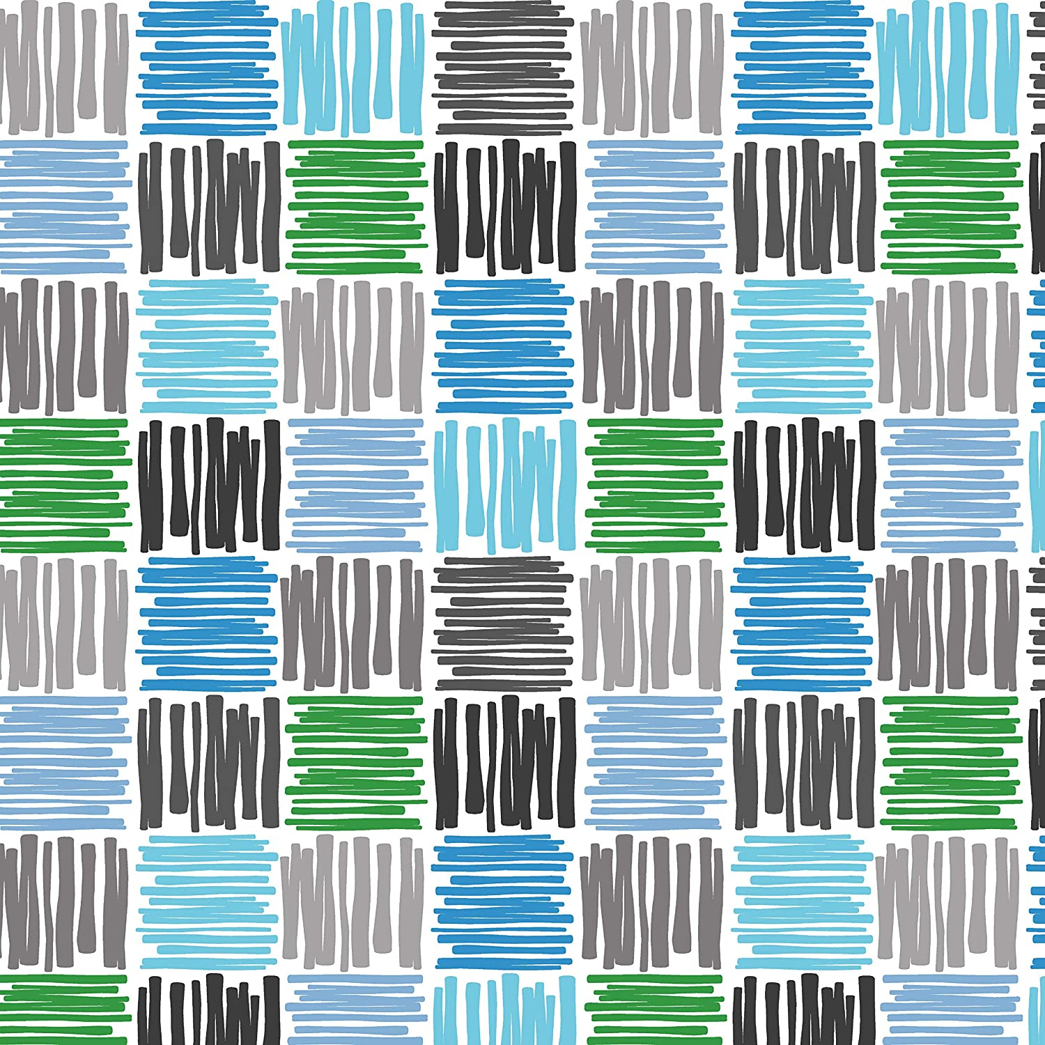 PVC Tablecloth Scribble Squares Blue 1.5 Metres Blue Sky Pastel Forest Green Grey Slate Charcoal Ecru White Novelty Kids Squiggle Patches Wipe Clean 150cm x 140cm Vinyl//Plastic Table Cloth