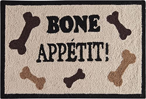 C F Home Bone Appetite Tan Wool Dog Pet Fun Themed Everyday Decorative Handcrafted Premium Hooked Indoor Area Rug 2'x3' Tan