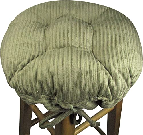 15 Round Bar Stool Cover with Adjustable Drawstring Yoke – Wide Wale Olive Green Corduroy – Extra Large Size – Latex Fill Barstool Cushion – Made in USA Olive Green, Extra-Large