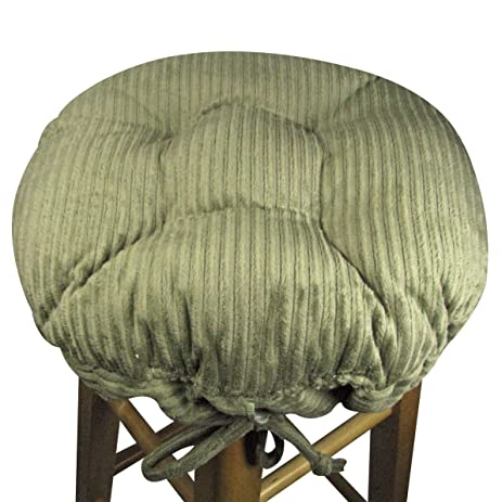 Bon 13u0026quot; Round Bar Stool Cover With Adjustable Drawstring Yoke   Wide Wale  Olive Green Corduroy