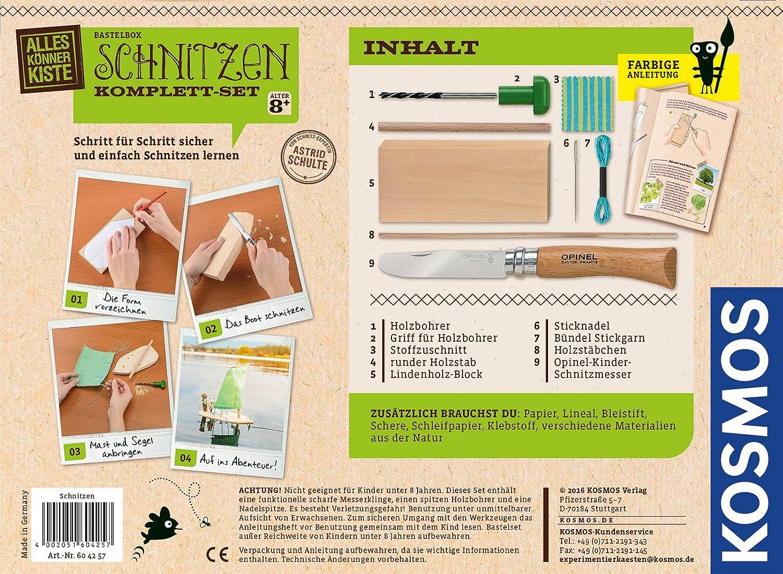 604257 KOSMOS AllesKönnerKiste Schnitzen Komplett-Set Holzschnitzerei ab 8 J