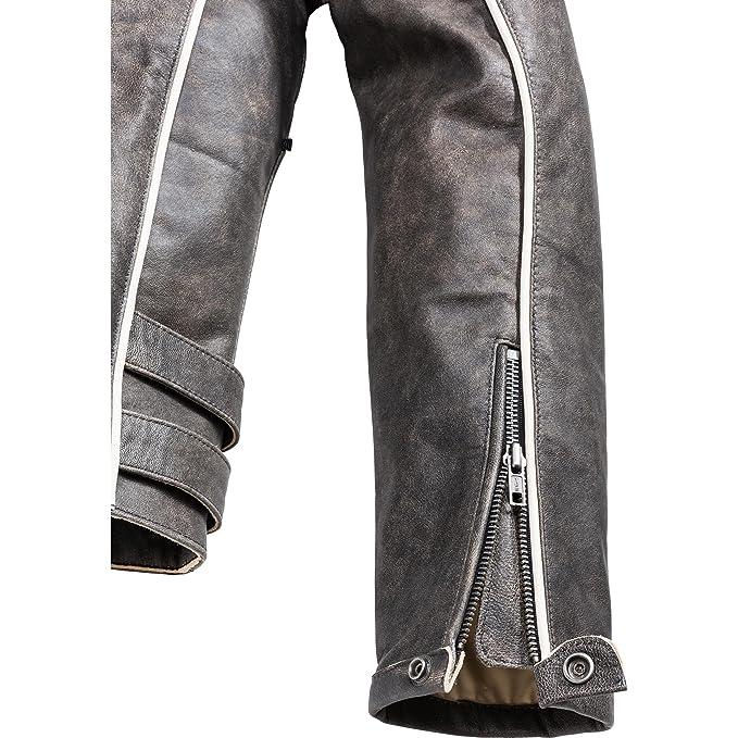 Chaqueta de cuero de motociclismo para hombre Spirit Motors 1.0 Negro-Amarillento M: Amazon.es: Ropa y accesorios