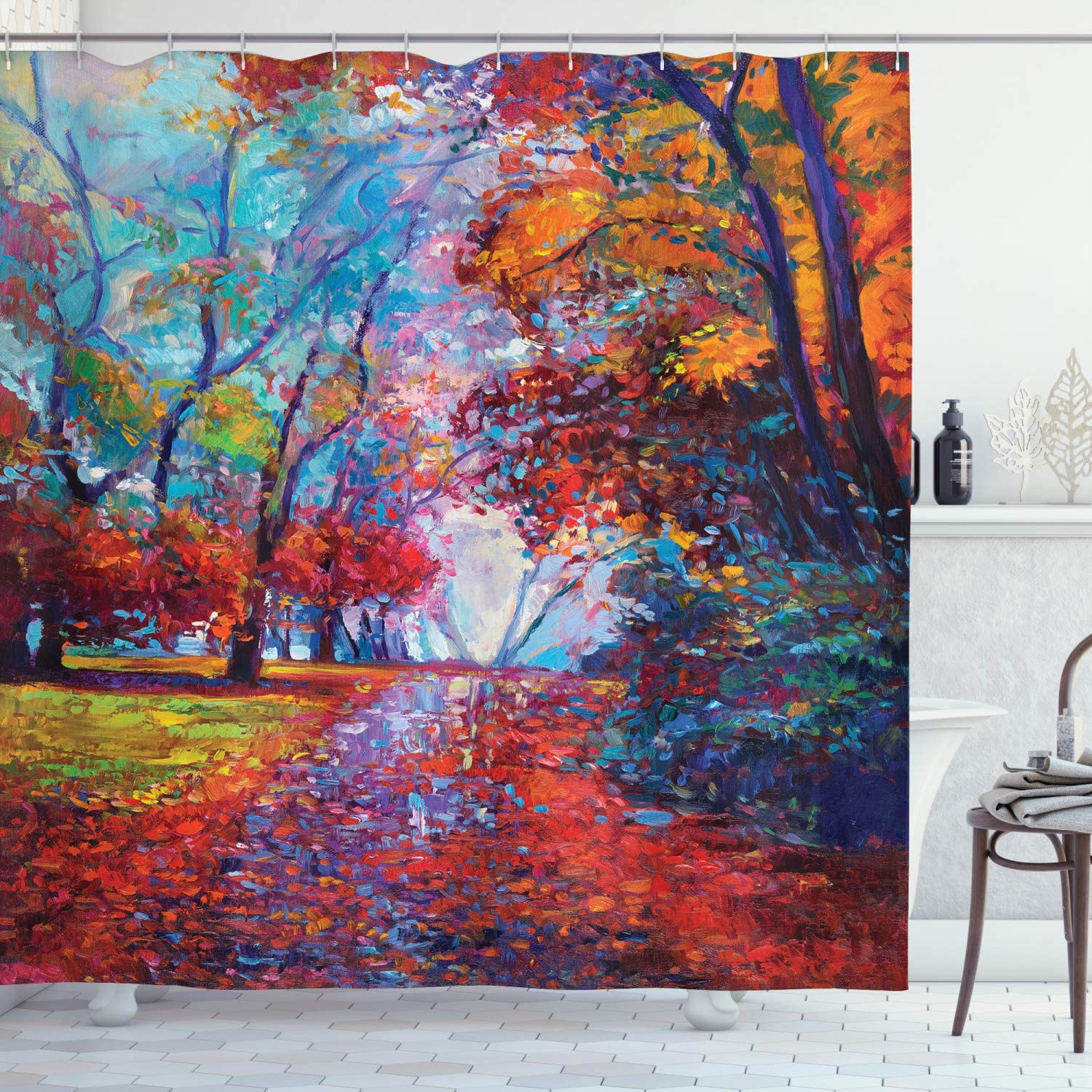 """Ambesonne Country Shower Curtain, Colorful Fairy Paint of Park in Fall View of The Earth in Oil Painting Style Print, Cloth Fabric Bathroom Decor Set with Hooks, 70"""" Long, Blue Orange"""