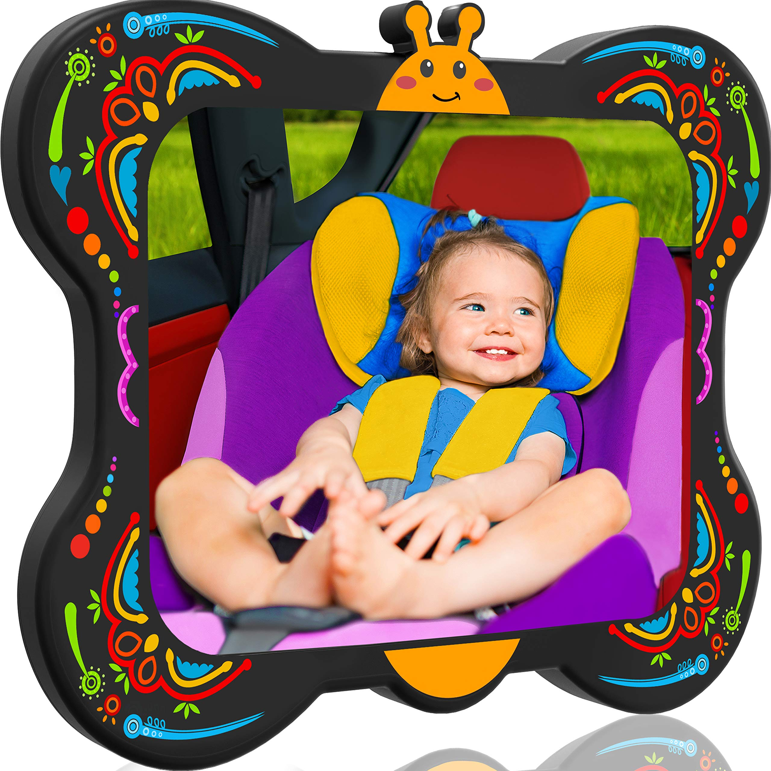 COZY GREENS Baby Car Mirror Butterfly | 100% Lifetime Satisfaction Guarantee | Shatterproof & Crash Tested | Largest and Most Stable | Baby Mirror for Car Carseat | Mirrors Backseat Rear Facing Kids by COZY GREENS