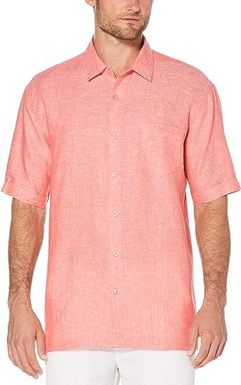 Cubavera Men's Short Sleeve 100% Linen Cross-Dyed Button-Down Shirt with Pocket