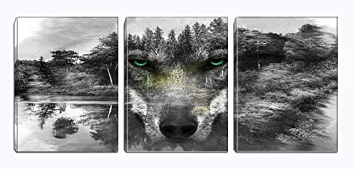 3Panels Black and White Wolf Wall Art with Green Eyes Animal Canvas Painting Picture Stretched and Framed for Living Room Bedroom Bathroom Office Decor