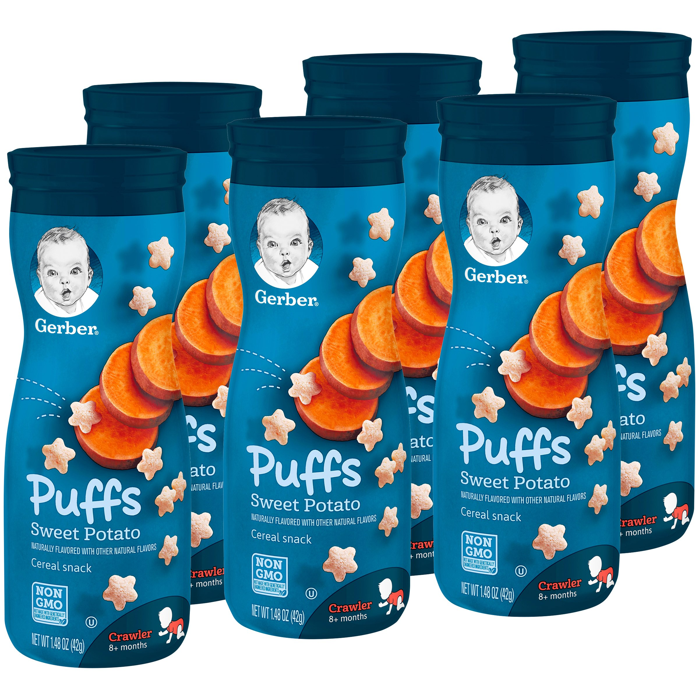 Gerber Puffs Cereal Snack, Sweet Potato, Naturally Flavored with Other Natural Flavors, 1.48 Ounce, 6 Count