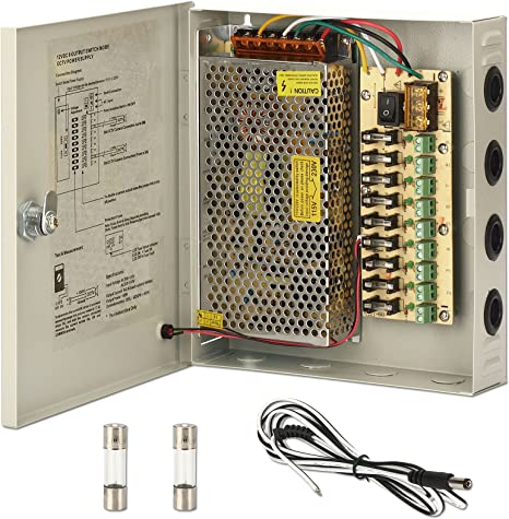 CCTV Fuente de alimentación Caja, zoter 9 Puerto Canal 15 un Fusible de distribución de Metal AC 110 -240 V a DC 12 V para Cámara de vigilancia: Amazon.es: Electrónica