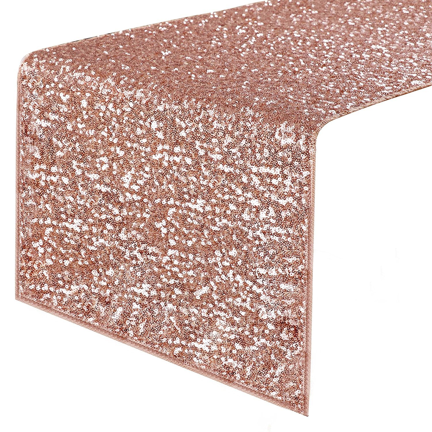 """PONY DANCE Sequins Table Runner - Decorative Sparkling Table Runner with Premium Quality for Christmas/Party/Wedding/Birthday Banquet Decoration, 14"""" x 108"""", Champagne Blush"""