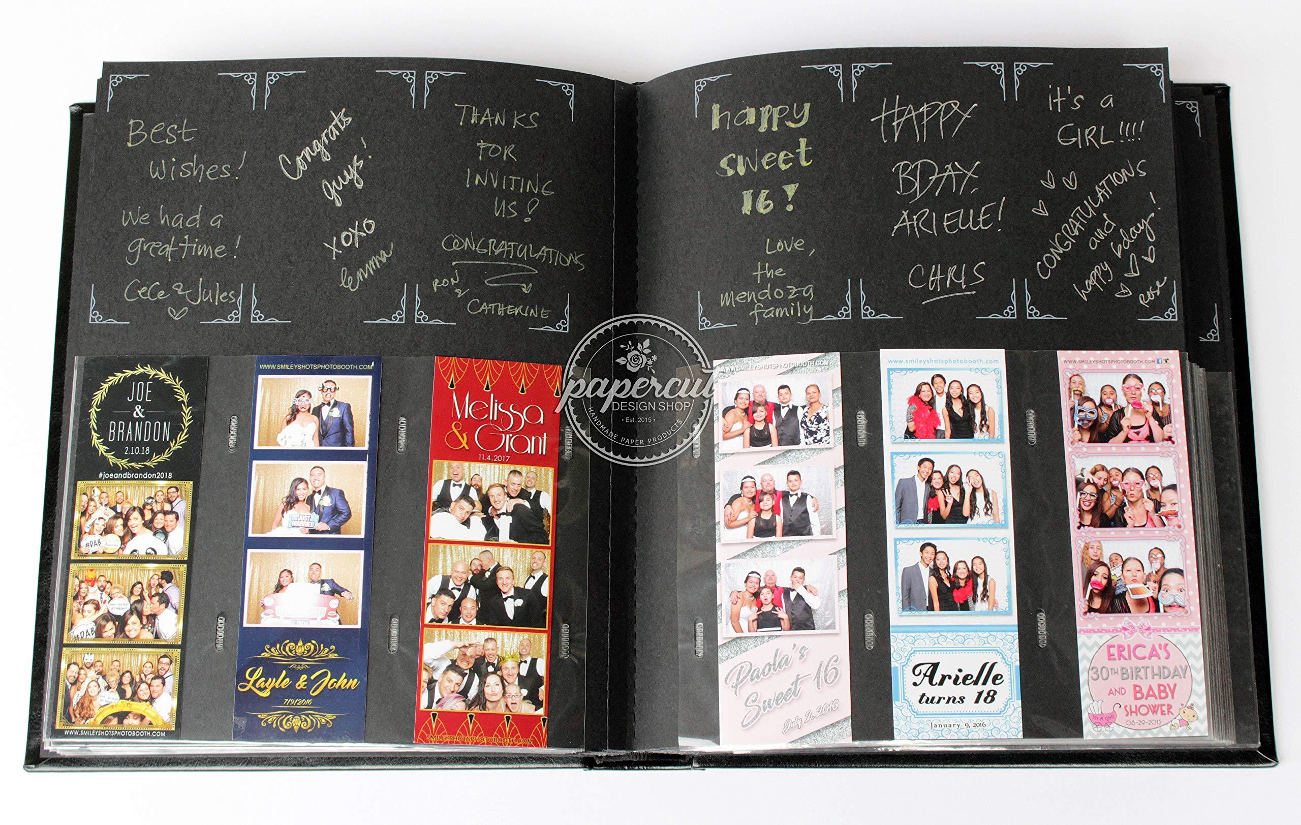 Paper Cut Design Shop Photo Booth Album Box Included Slip-in Plastic Slots Elegant Leatherette Black Album 2x6 Photos by Paper Cut Design Shop