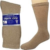 Diabetic Socks Mens Cotton 6-Pack Crew Beige by DEBRA WEITZNER Size 13-15