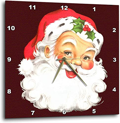 3dRose Large Happy Santa Claus Face Cartoon – Wall Clock, 10 by 10-Inch DPP_172752_1