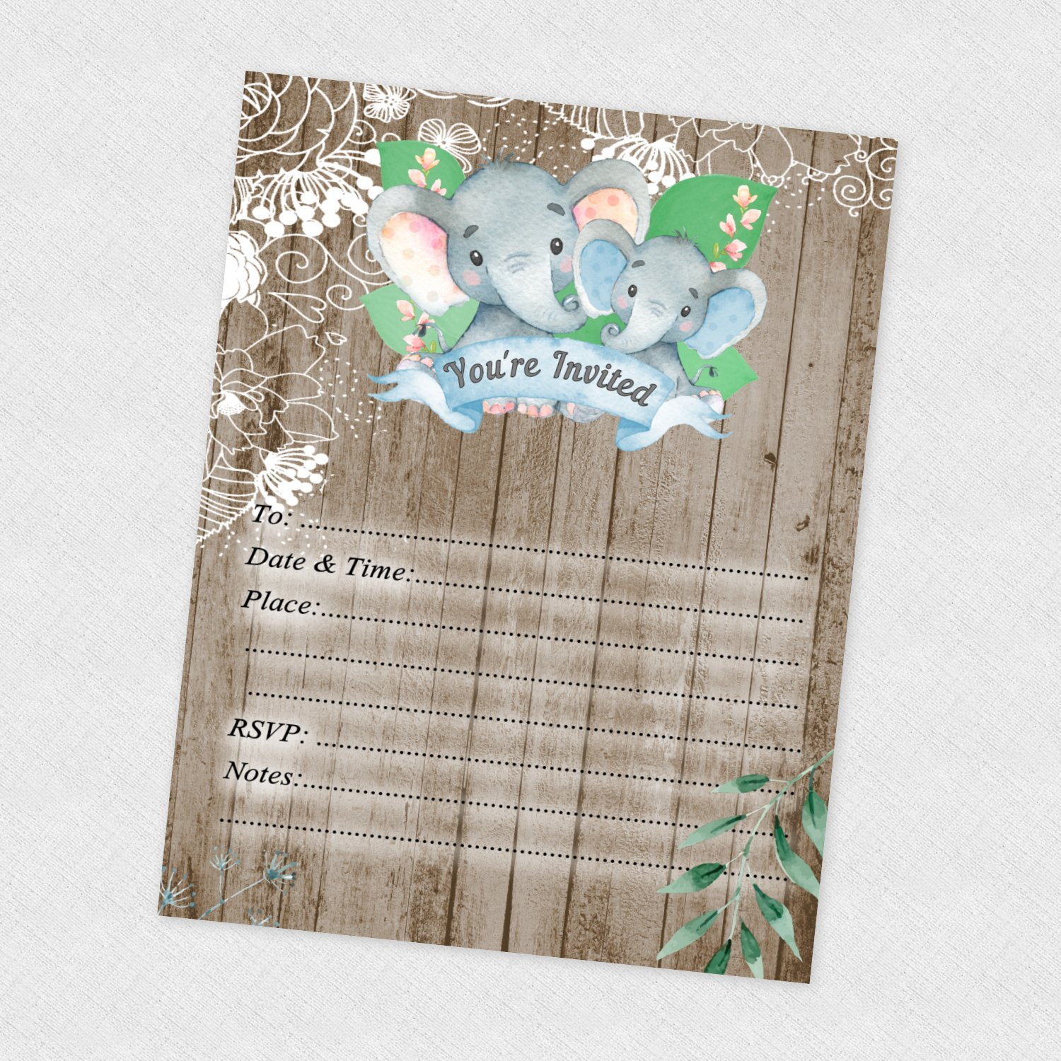 Amazon Elephant Birthday Invitations Jungle Baby Shower Invites Boy Cards Rustic 30 Count With Envelopes Kitchen Dining