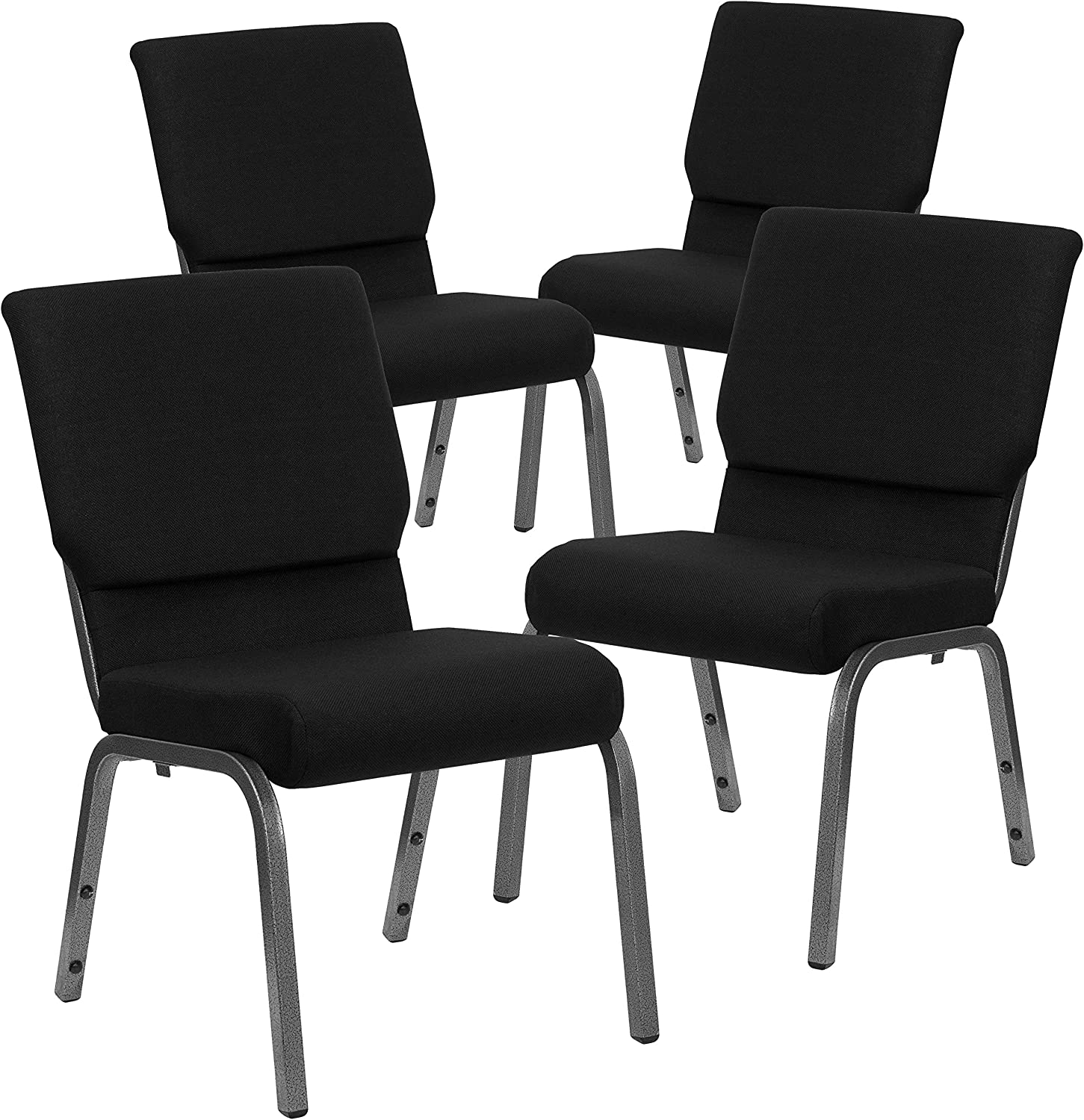 Silver Vein Frame Flash Furniture HERCULES Series 18.5W Stacking Church Chair in Black Fabric