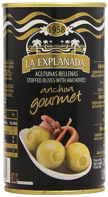 La Explanada Anchoa Gourmet Aceitunas Verdes Rellenas de Anchoa - 150 g: Amazon.es: Amazon Pantry