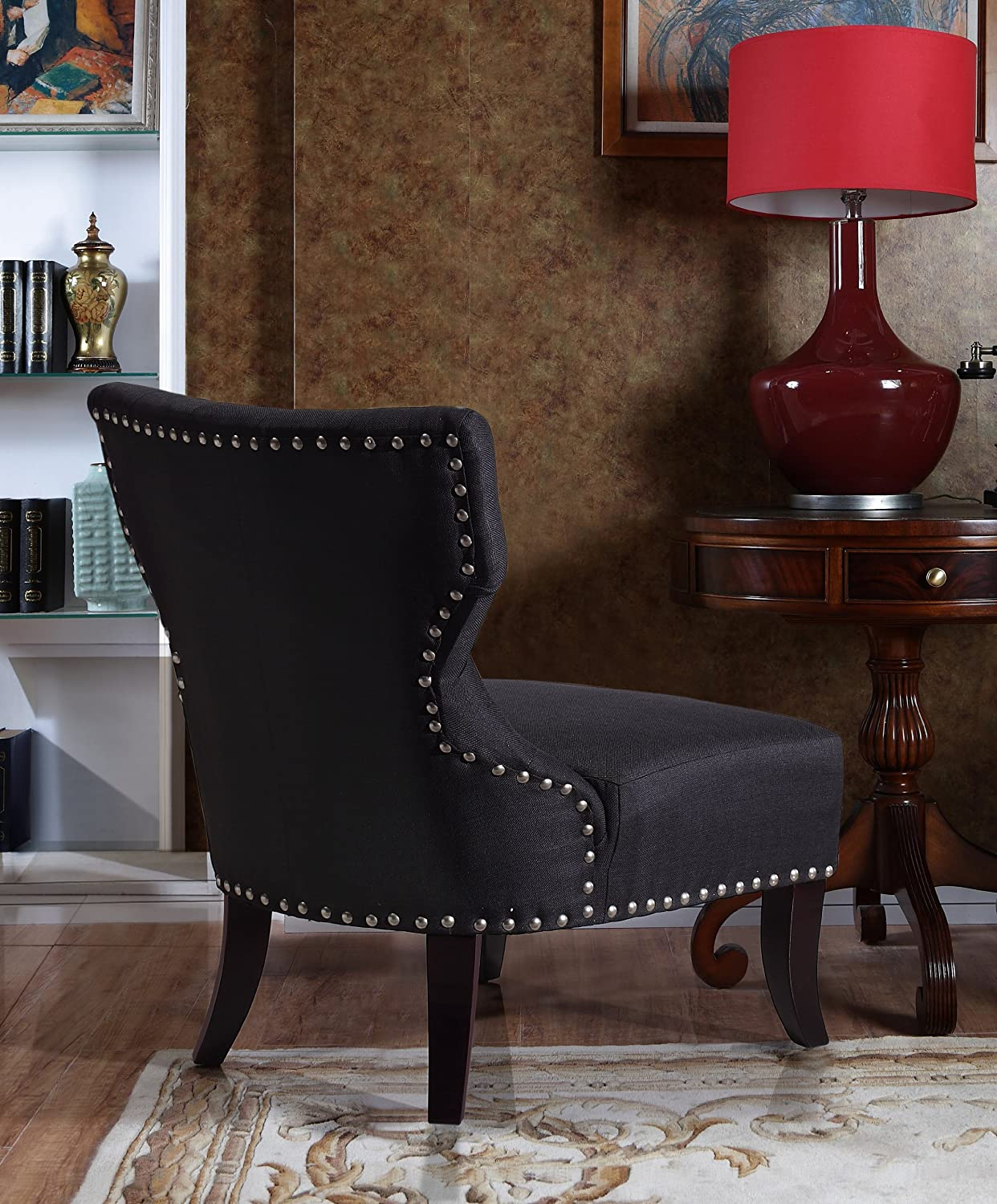 International Furniture Kitchener Amazoncom Simpli Home Kitchener Tufted Accent Chair Charcoal