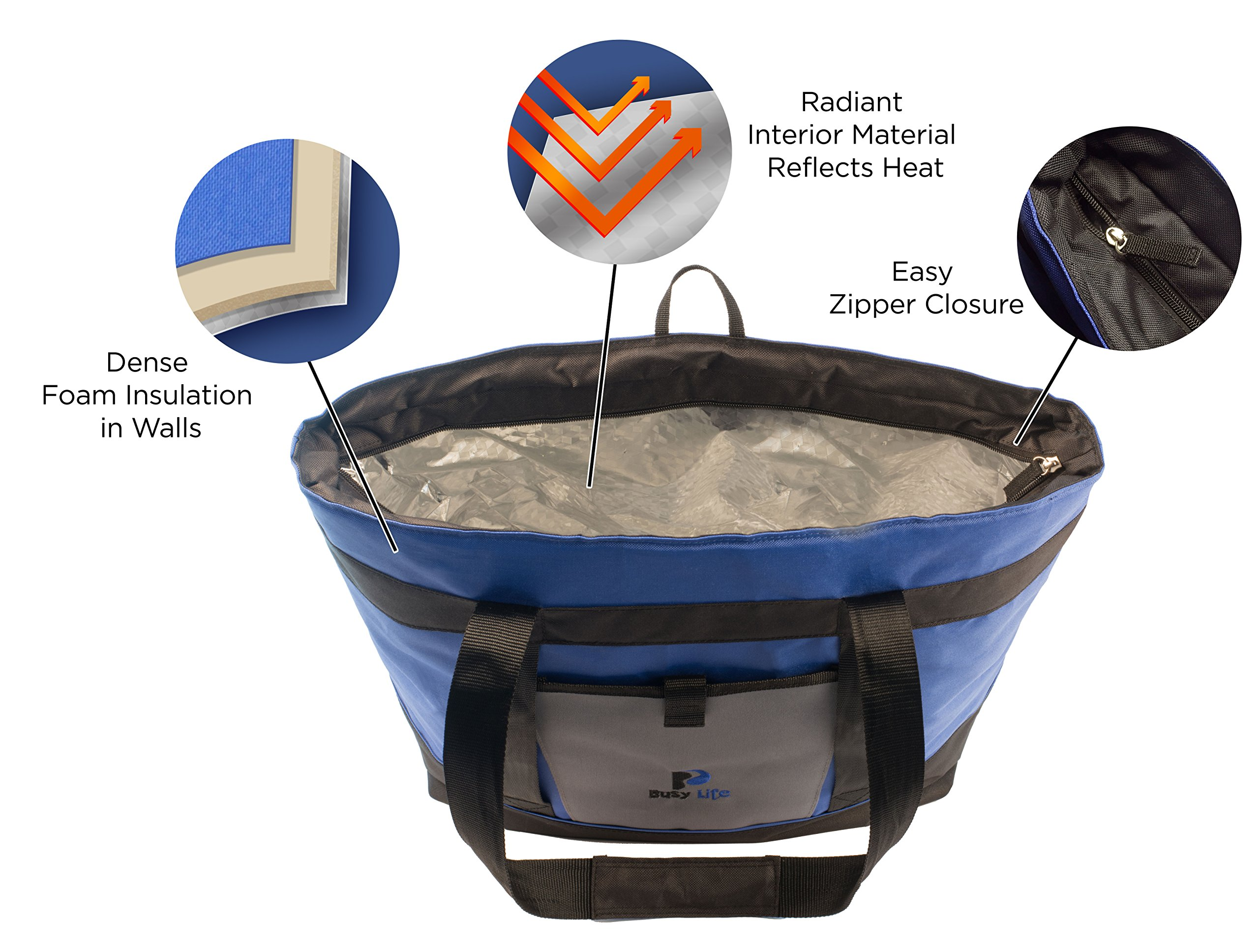 Insulated Cooler Bag Gift Pack. Busy Life Insulated Grocery Tote Perfect for Hot and Cold Food. Large 10 Gallon Capacity - Never Bring Home Melted Ice Cream Again. (4 Units) by Busy Life (Image #4)