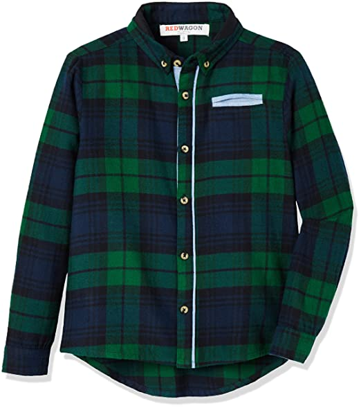 RED WAGON Brushed Check Shirt - camisa Niños, Verde (Green), 5 ...