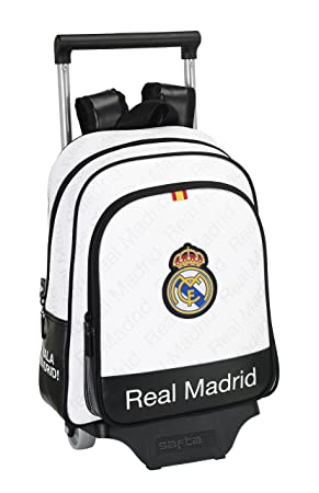 Safta Real Madrid Mochila Infantil con Ruedas, Color Blanco: Amazon.es: Equipaje