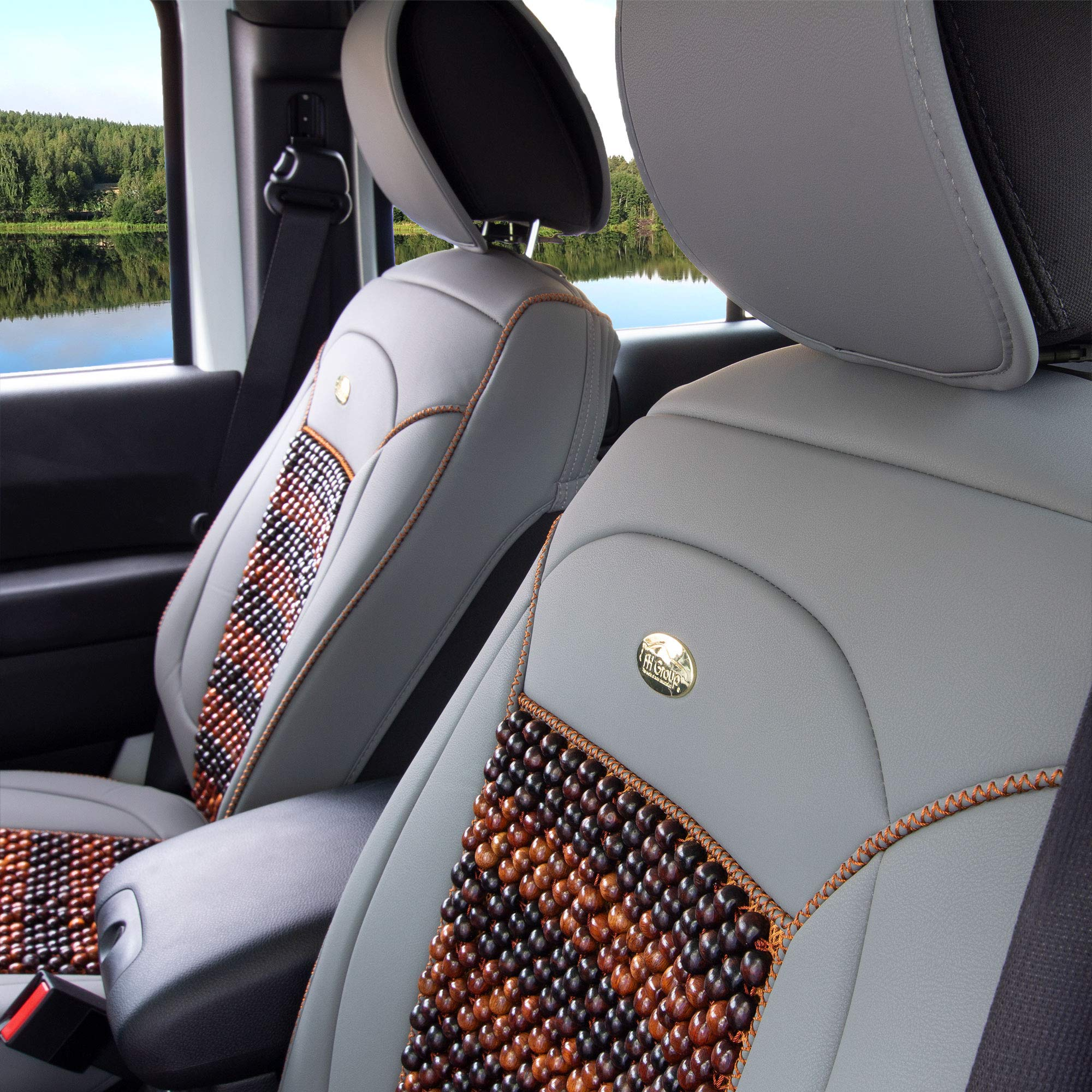 FH Group PU203102 Premium Leather Seat Leather Cushion Pad Seat Covers Gray Color w. Cooling Rosewood Beads-Fit Most Car, Truck, SUV, or Van by FH Group (Image #5)