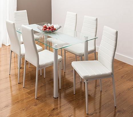 Sedie Per Tavolo Di Vetro.Smartdesignfurnishings Tavolo Di Vetro Con Motivo A Strisce Con 6