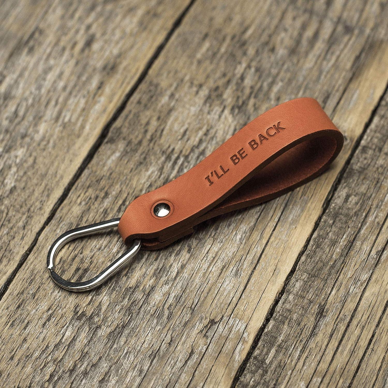 Naranja llavero de cuero, anilla personalizada, llavero con ...