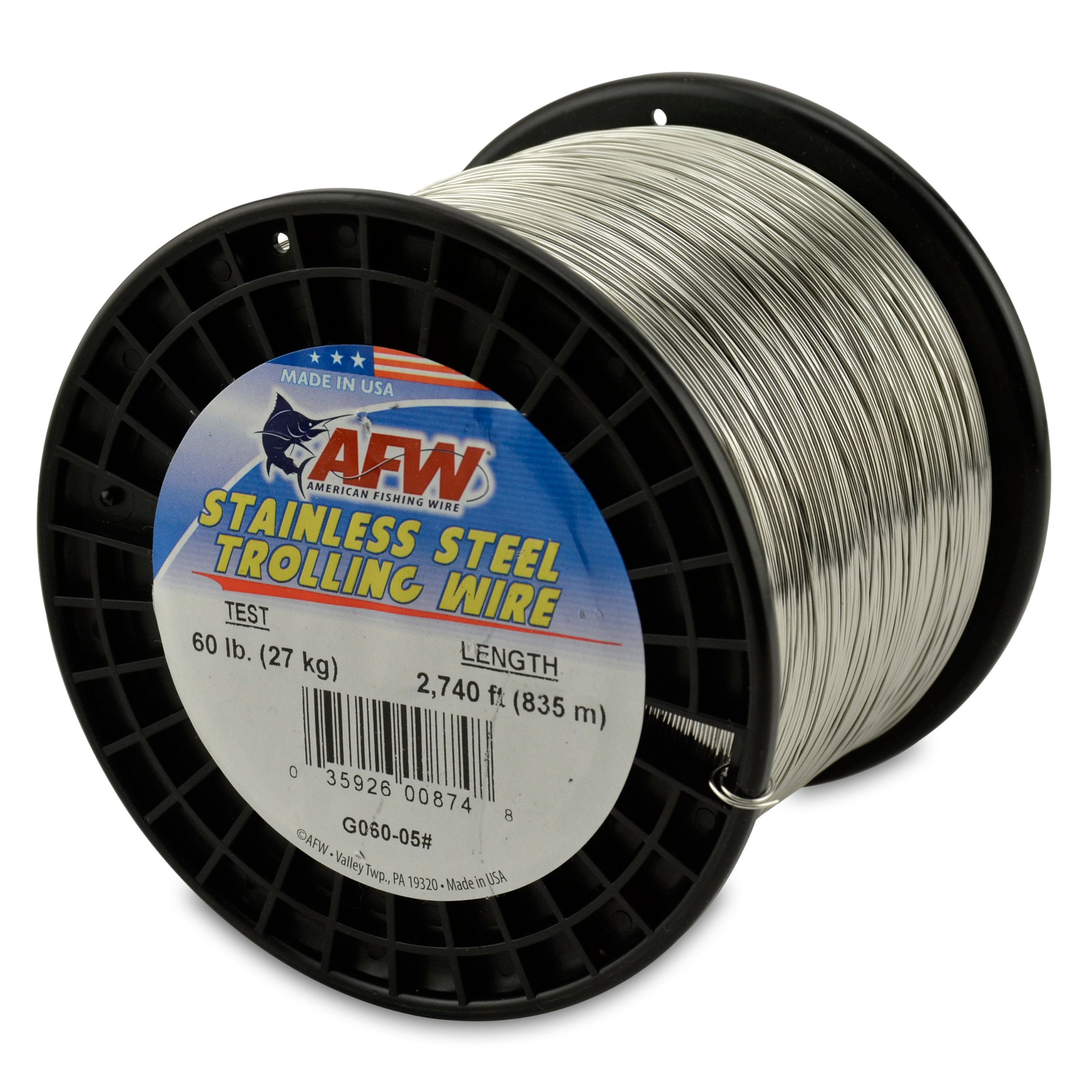 American Fishing Wire Stainless Steel Trolling Wire, 60-Pound Test/0.66mm Dia/835m by American Fishing Wire