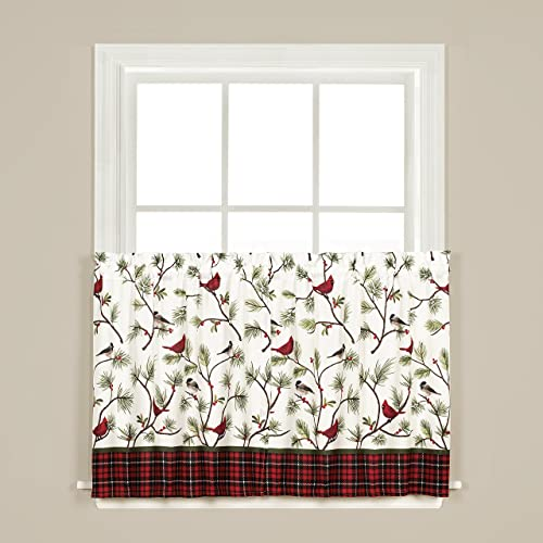 SKL Home by Saturday Knight Ltd. Winter Birds Tier Curtain Pair, Multicolored, 57 inches x 36 inches