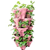Pink -5-Tier Strawberry and Herb Planter - Stackable Gardening Pots with 10 Inch Saucer (Pink Pink)