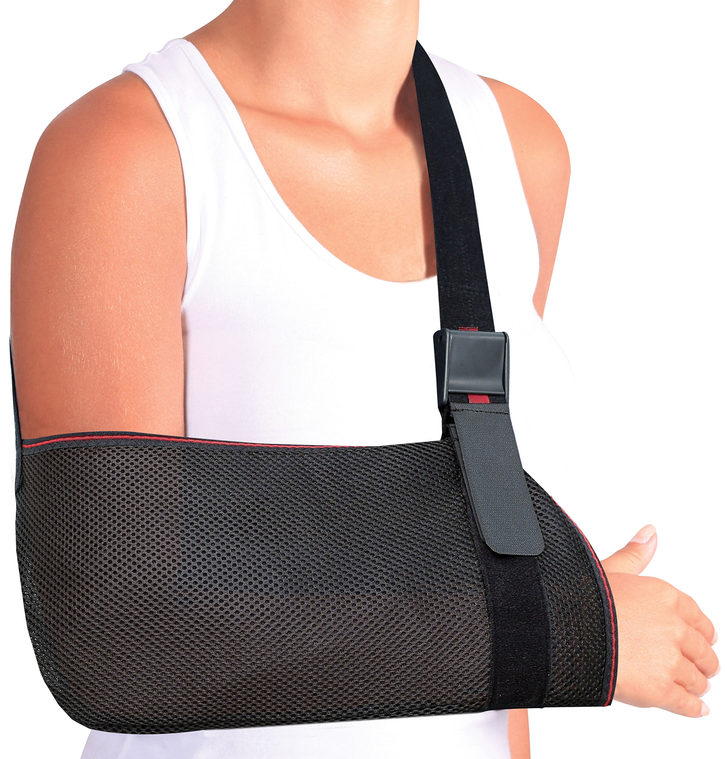 ORTONYX Mesh Arm Support Sling Shoulder Immobilizer Brace – Breathable and Lightweight – Fully Adjustable - L-XXL Black