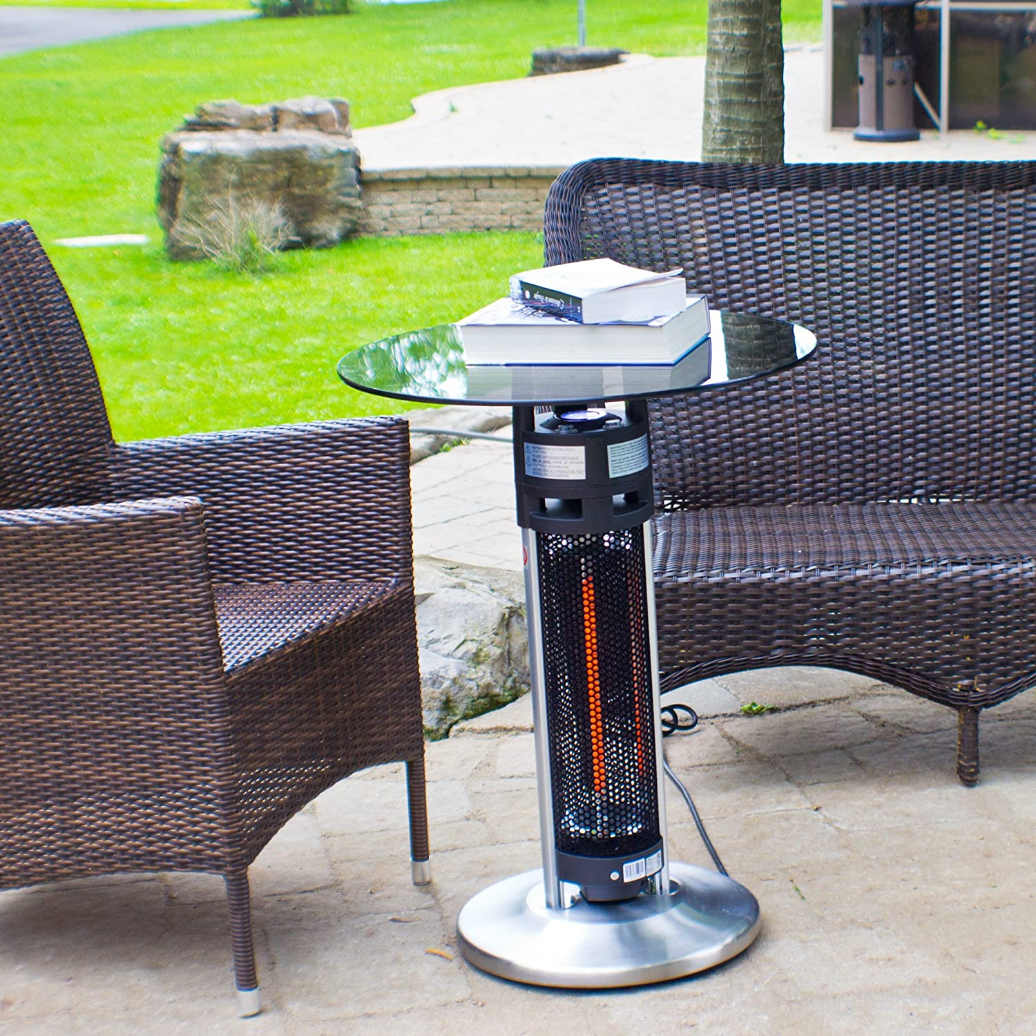 Amazon.com : Ener G+ Freestanding Outdoor Electric Patio Heater With LED  Light And Infrared Heated Table, Silver : Garden U0026 Outdoor