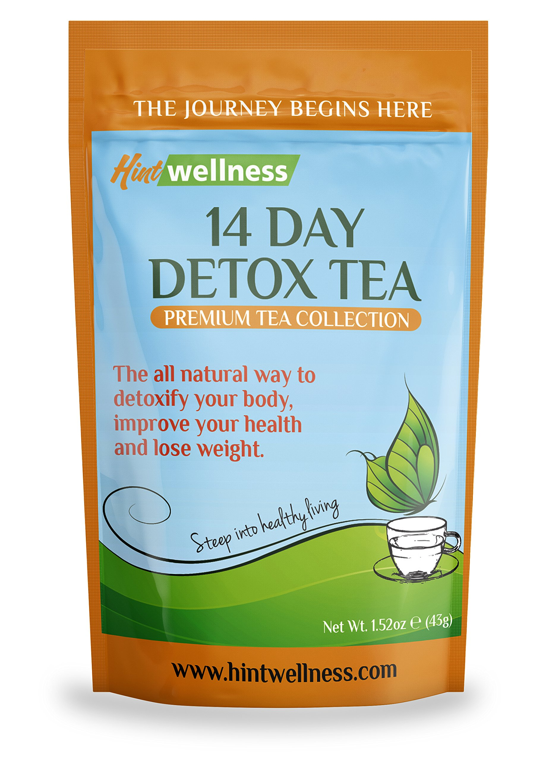 14-Day Detox Tea by Hint Wellness (43g) - Skinny Tea Detox and Body Cleanse Aids Weight Loss, Reduces Bloating and Improves Digestion - Delicious, Premium Quality Loose Leaf Herbal Detox Blend