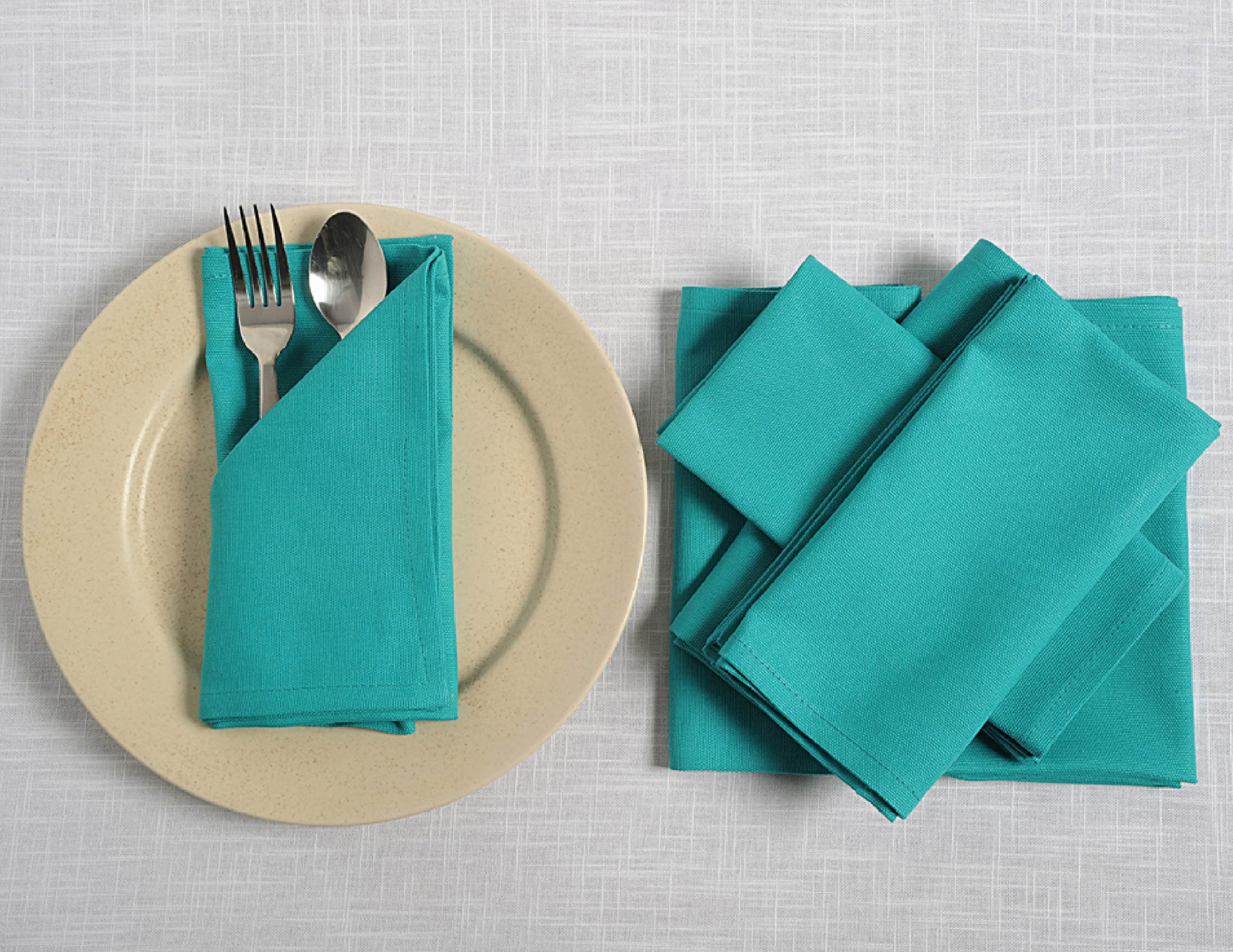 ShalinIndia Cloth Napkins Set For Lunch - 18'' x 18'' - Cotton - Aqua - Set of 12 - Perfect for Weddings & Parties by ShalinIndia