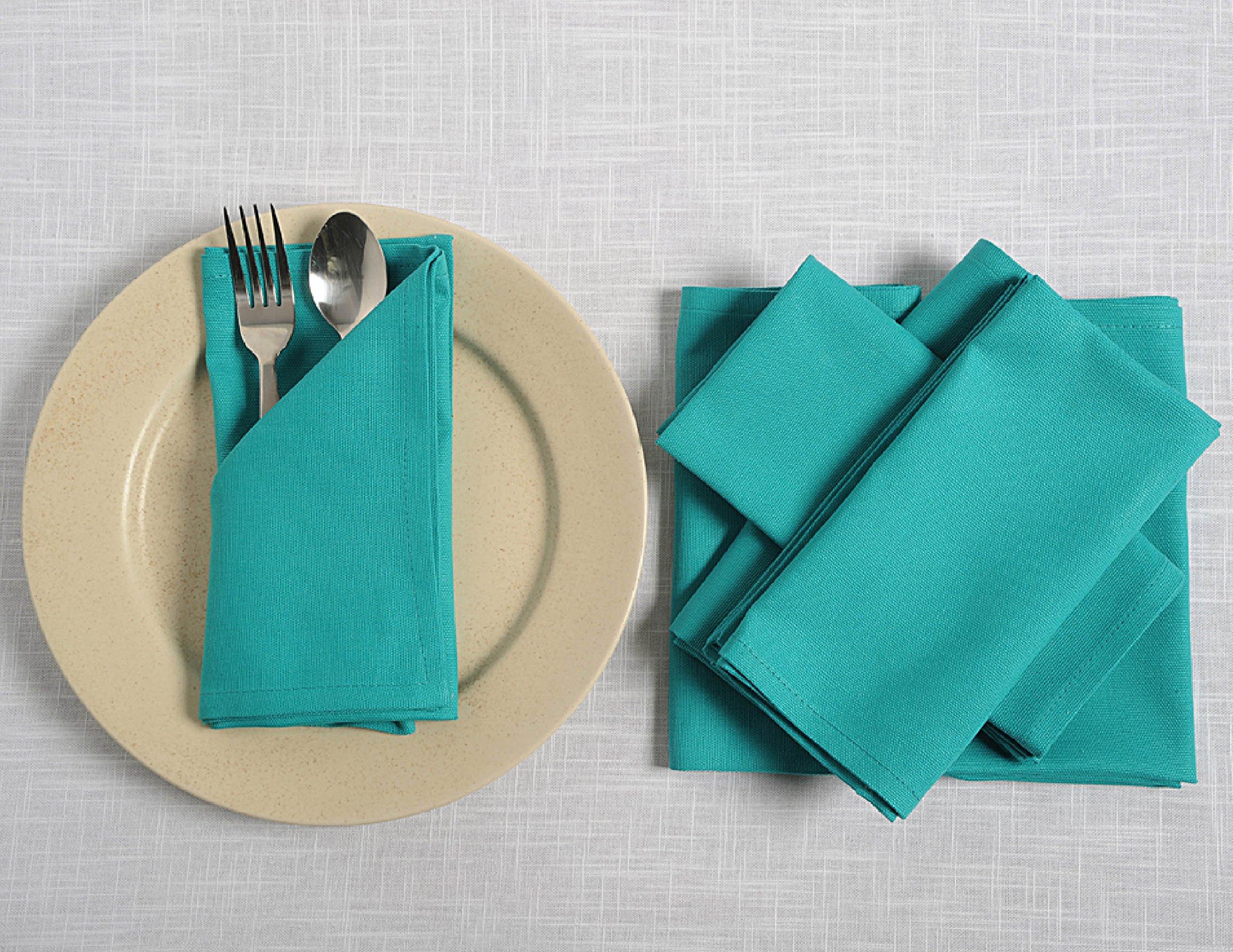 ShalinIndia Cloth Cotton Beverage Napkins - 10'' x 10'' - Aqua - Set of 100 - Perfect for Weddings Parties & Anniversary