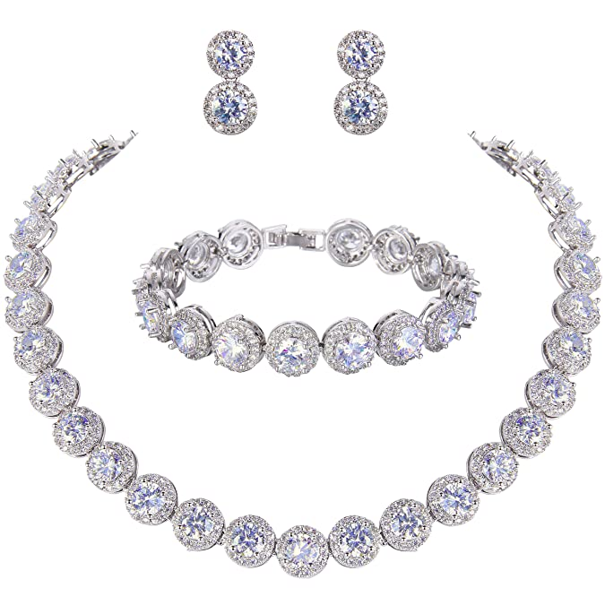 Ever Faith Silver Tone Round Cut Cubic Zirconia Tennis Necklace Bracelet Earrings Set by Ever Faith
