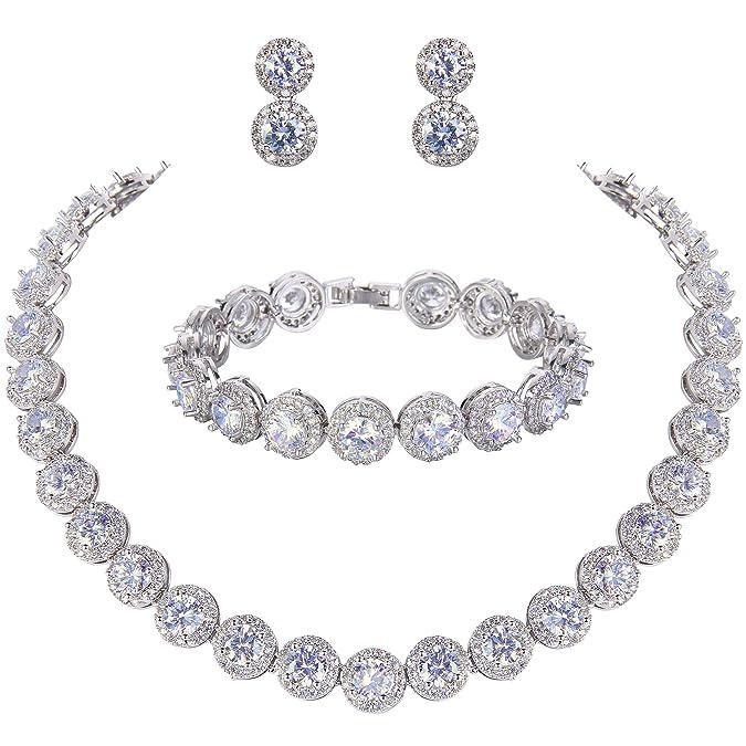 Ever Faith Silver Tone Round Cut Cubic Zirconia Tennis Necklace Bracelet Earrings Set by Ever Faith
