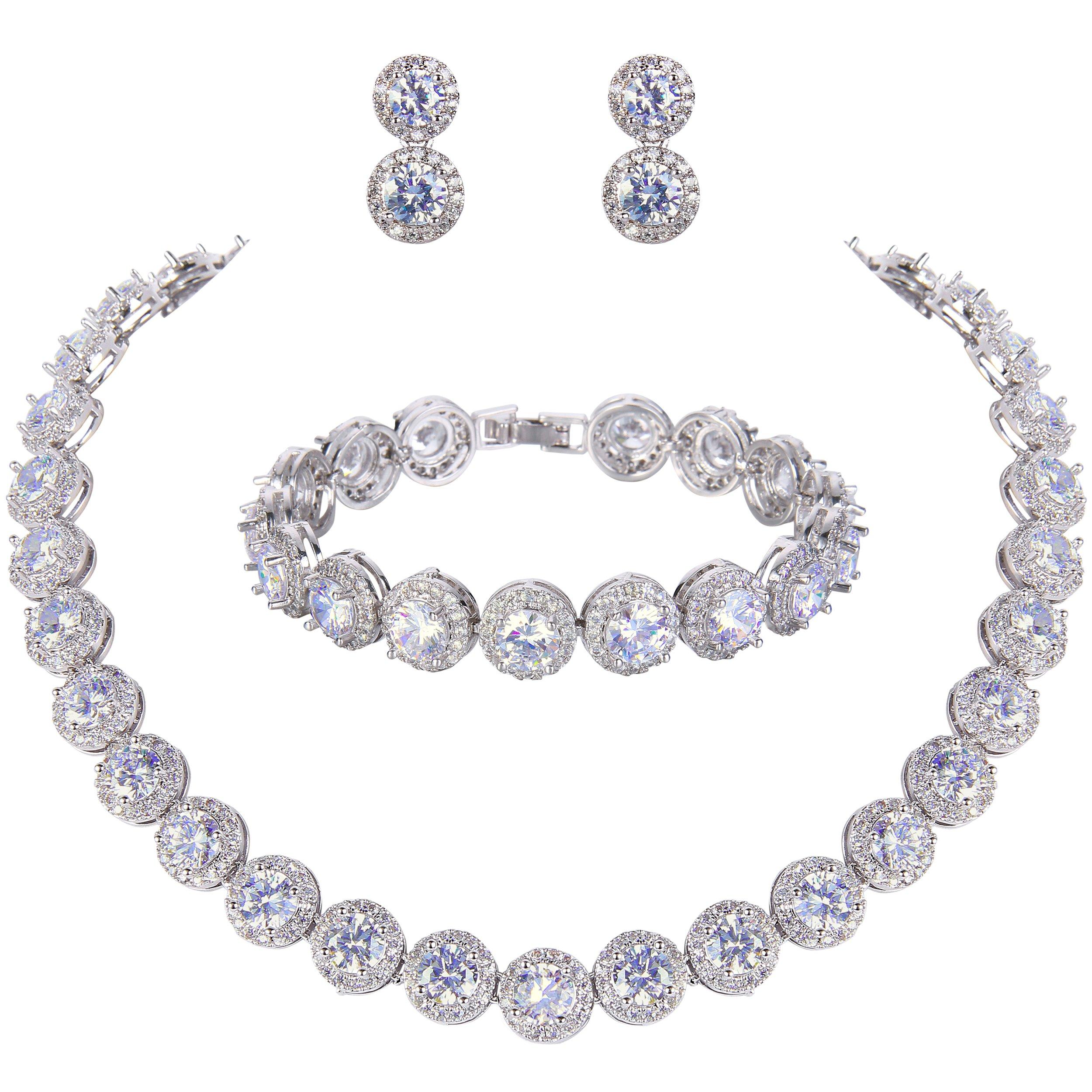 EVER FAITH Round Cut Cubic Zirconia Tennis Luxury Necklace Bracelet Earrings Set Clear Silver-Tone