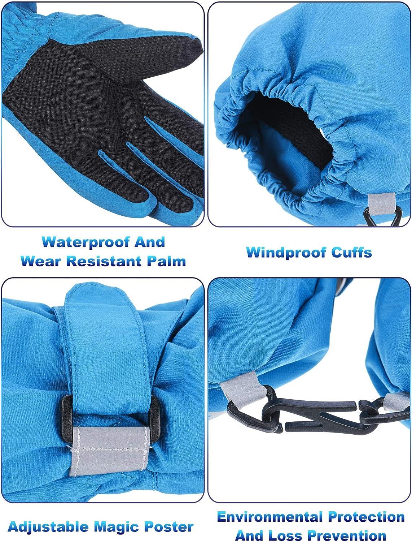 Kids Winter Ski Warm Gloves Waterproof Snow Gloves for Boys Girls Outdoor Sports