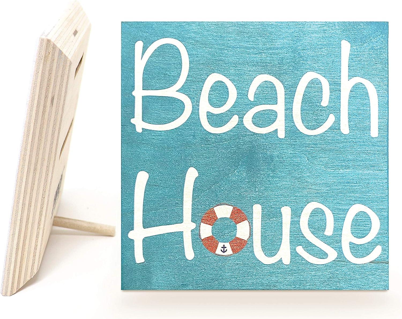 JennyGems Beach House Sign Nautical | Wood Sign | Mom Gifts | Coastal Decor | Made in USA