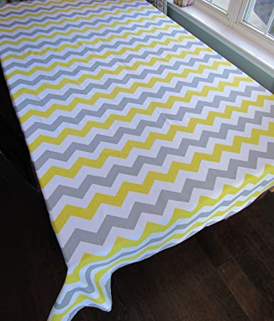 Gray Chevron Cotton Square Tablecloth   Crabtree Collection   Gray/Yellow  Chevron (60 X