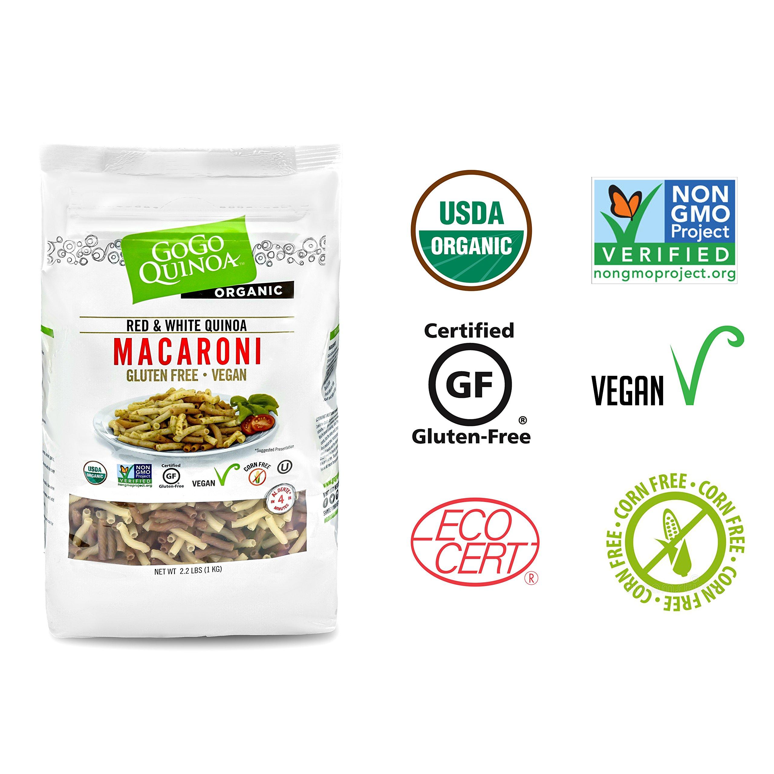 GoGo Quinoa Organic Premium Quality Vegan Red and White Macaroni Pasta, Non-GMO Project Verified & Kosher Certified 2.2 Lbs